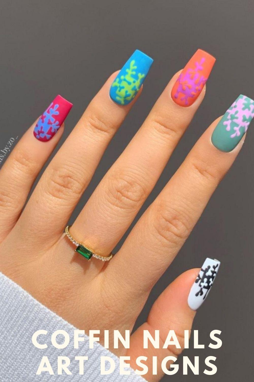 Spring coffin nails art designs