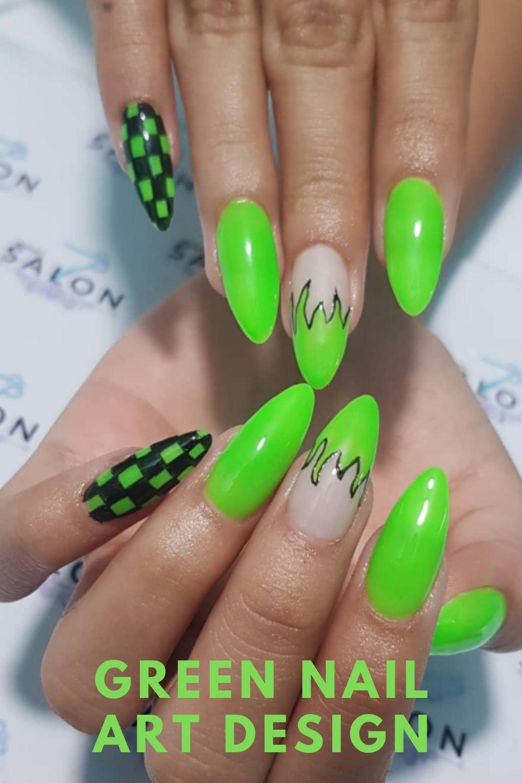 Acrylic green almond nails art