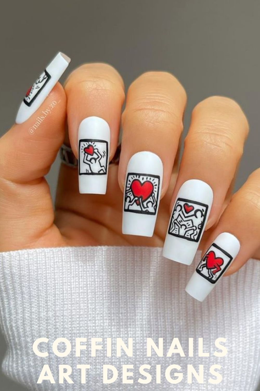 White coffin nails with heart