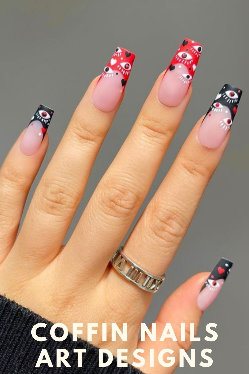 Red and black coffin nails designs