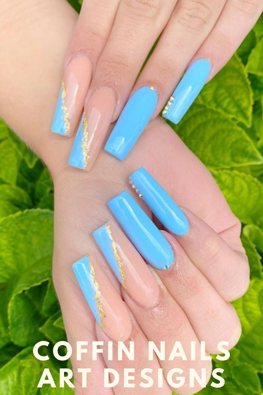Gold and light blue coffin nails art designs
