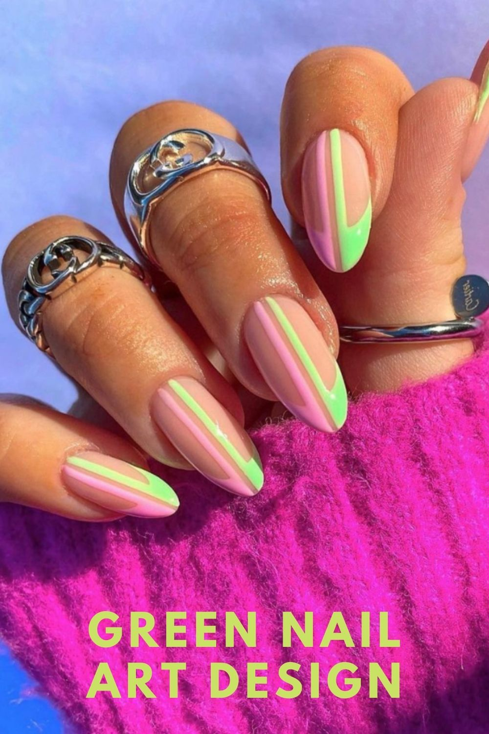 Pink and neon green almond nails art