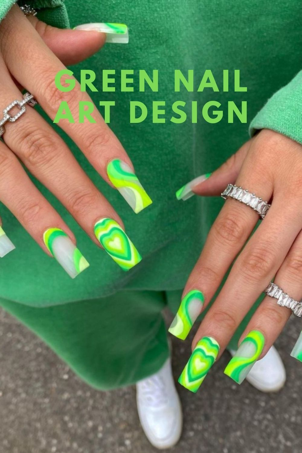 Neon green coffin nails with heart