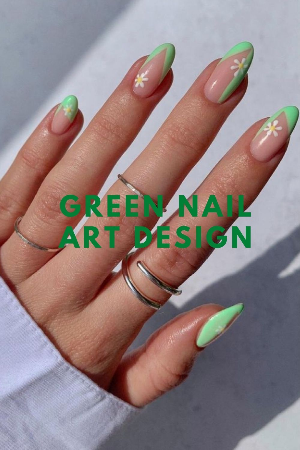 Green almond nails with flowers