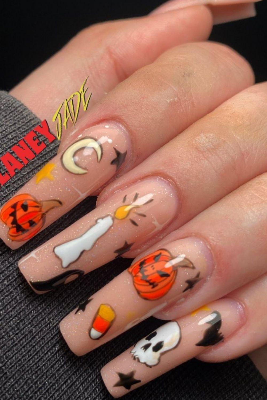 Pumpkin Coffin Nail Designs