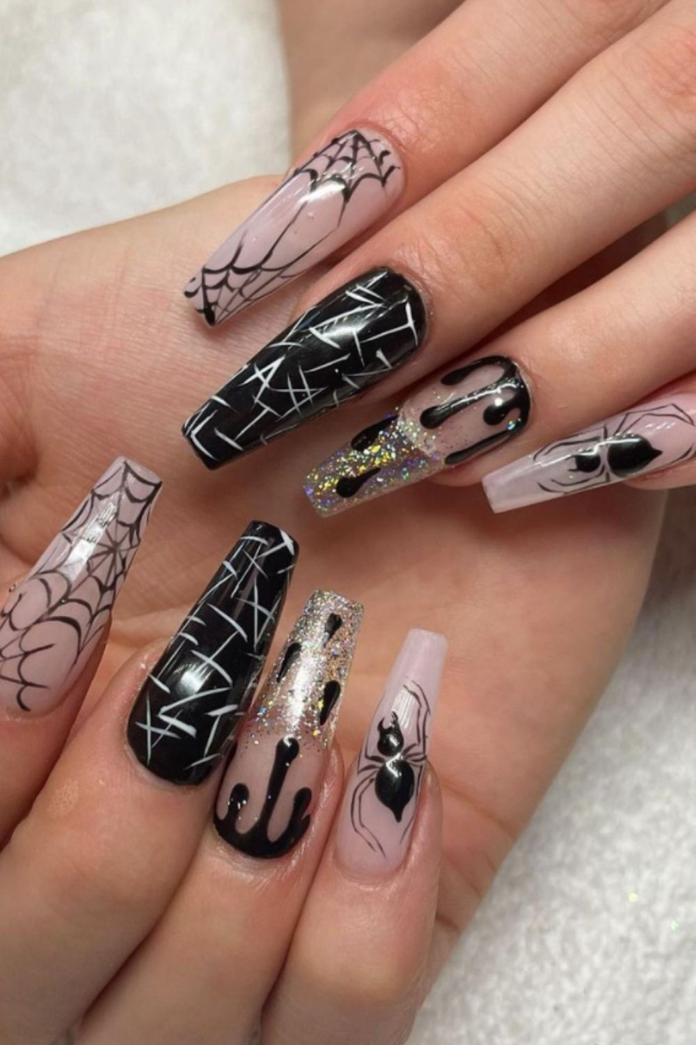 Black, Gray and White Nail Designs for Halloween