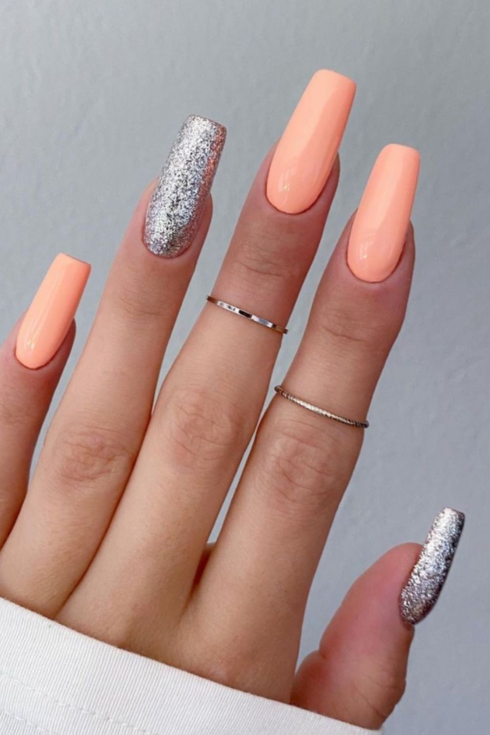 Silver and pink glitter coffin nail