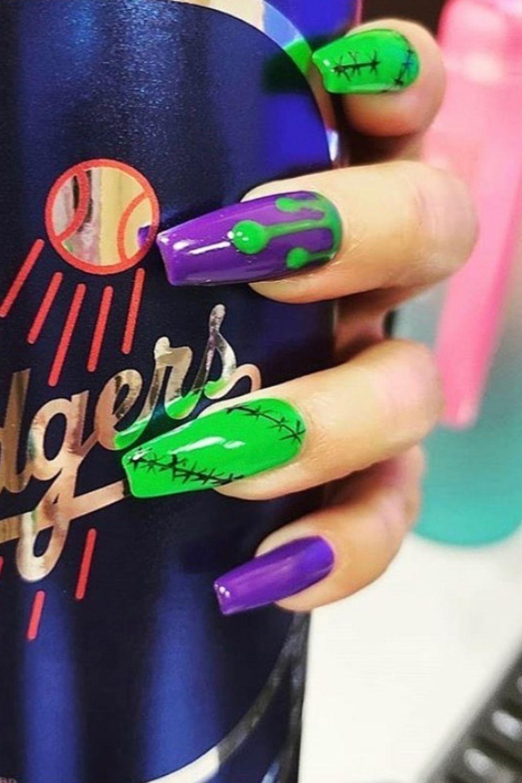 Green and purple Halloween Nail Art Design Ideas