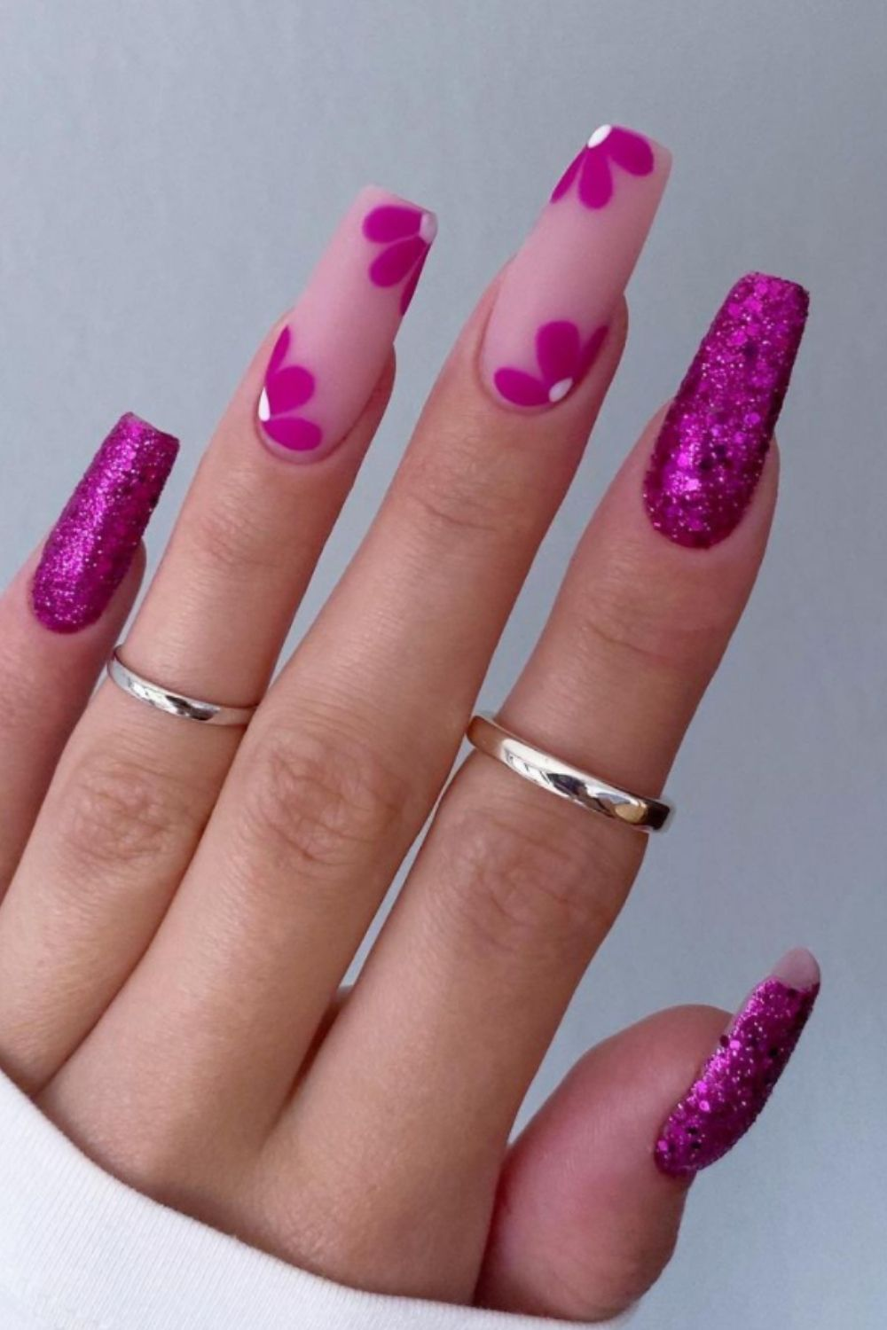 Purple coffin nails with flowers