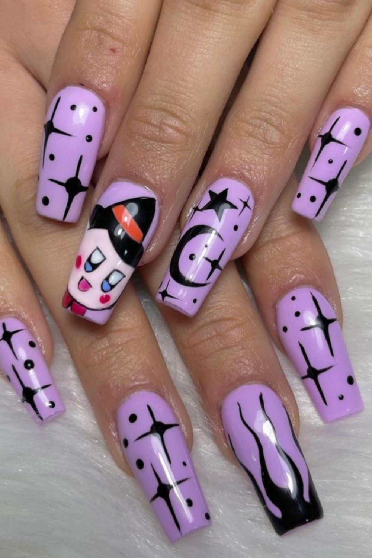 Purple coffin nails designs