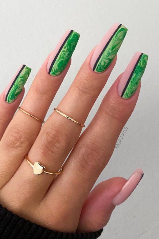 Green and pink nails art