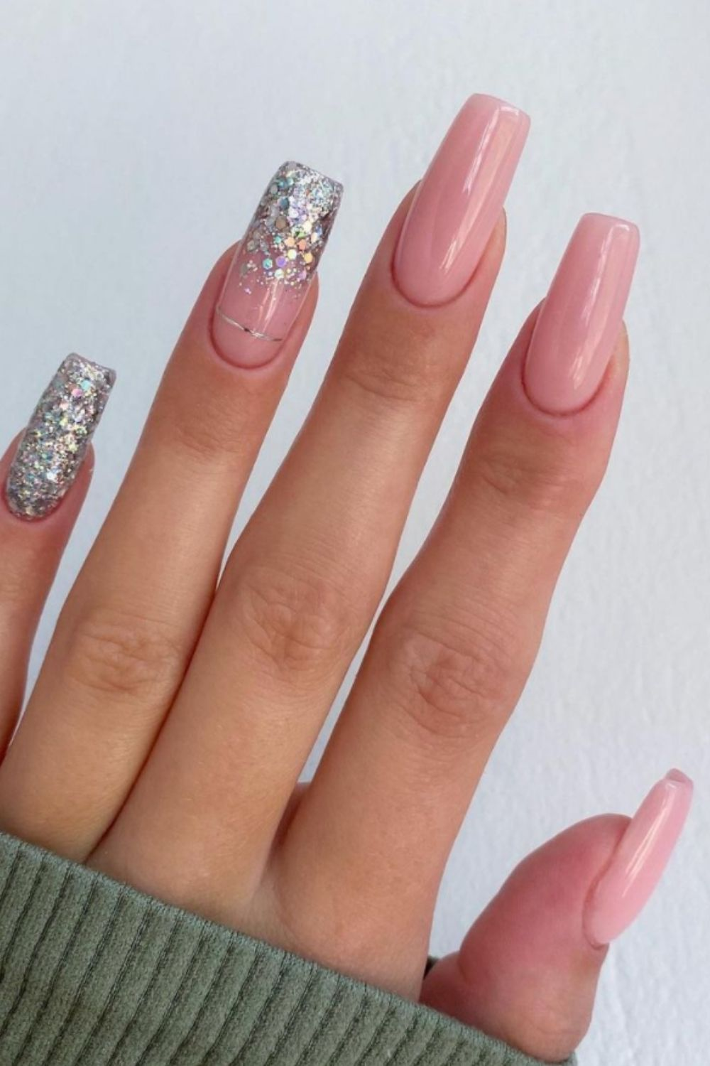 Silver coffin nail with crystals