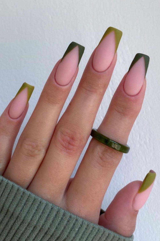Green tip coffin nails designs