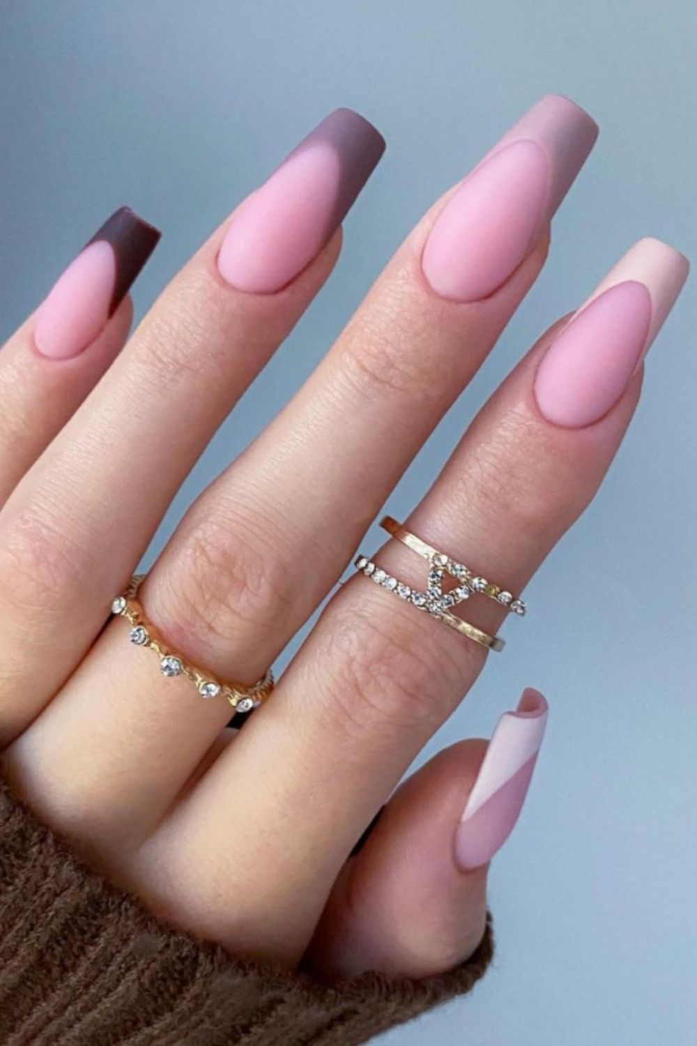 Classy nude coffin nail shape