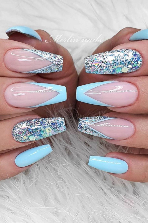 Glitter ombre coffin nails