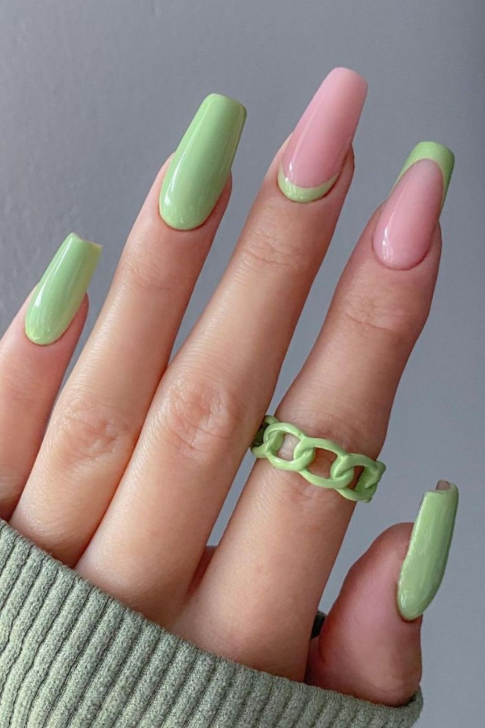 Neon and pink coffin nails ideas
