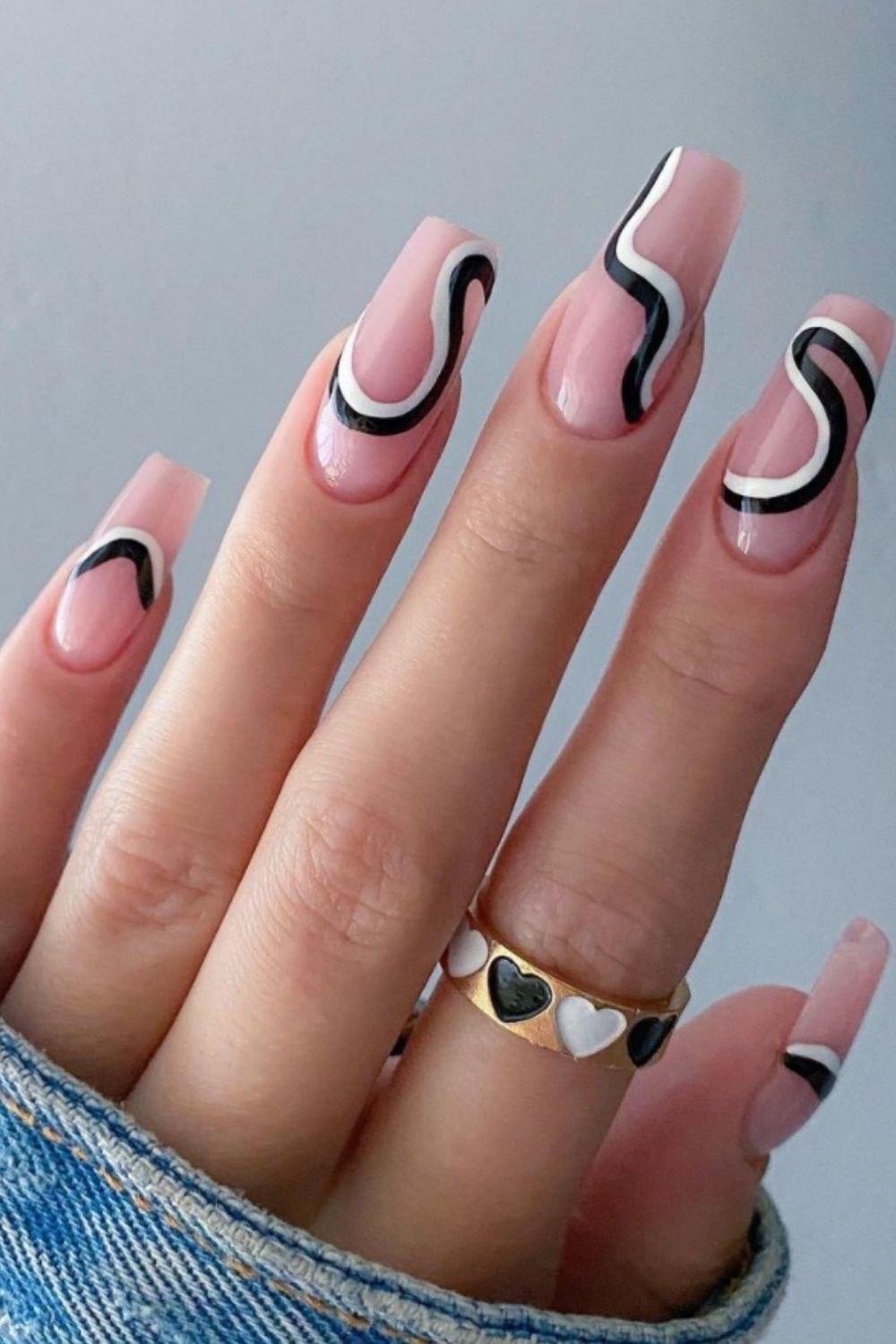 Black and white coffin nails ideas