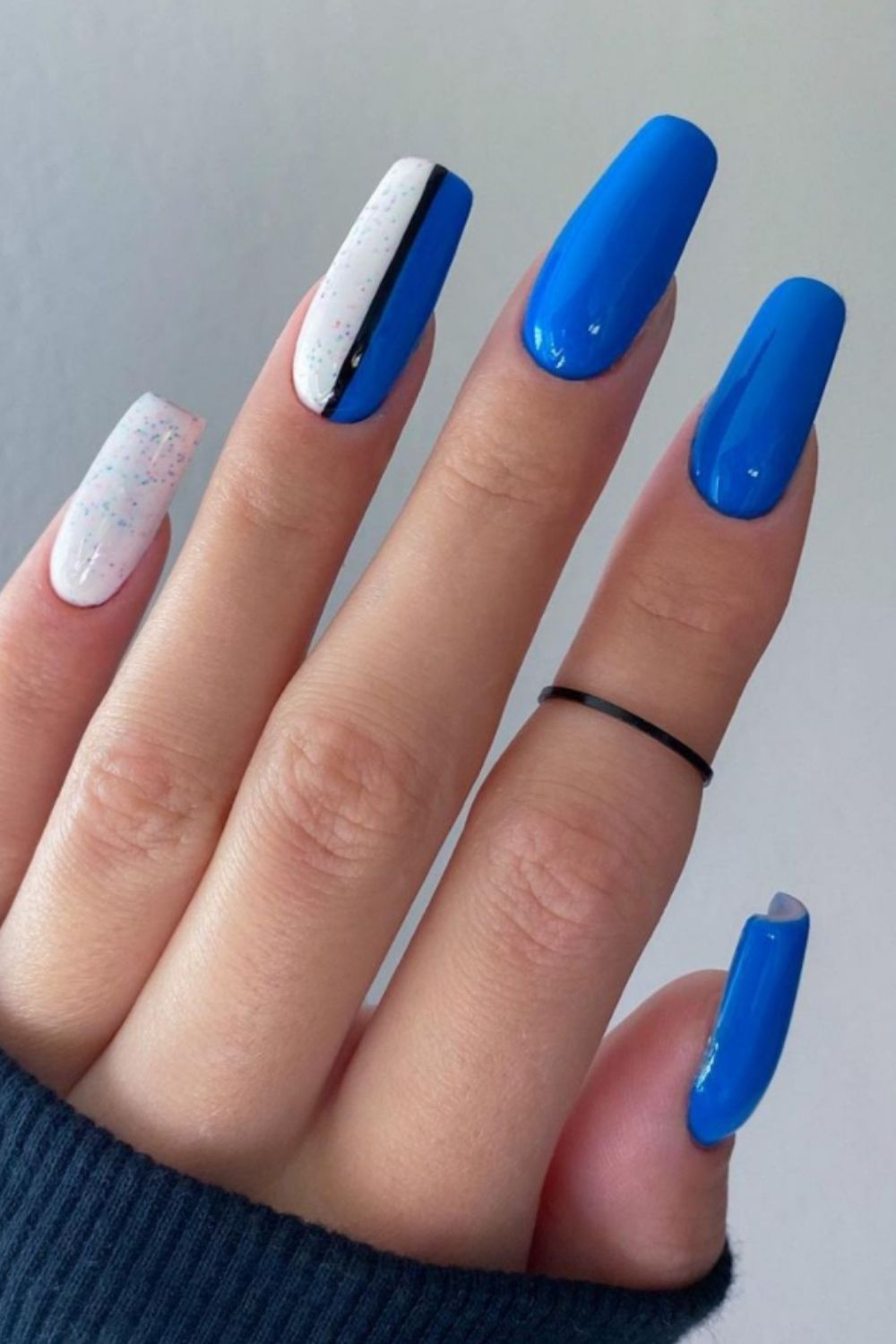 Blue and white coffin nail