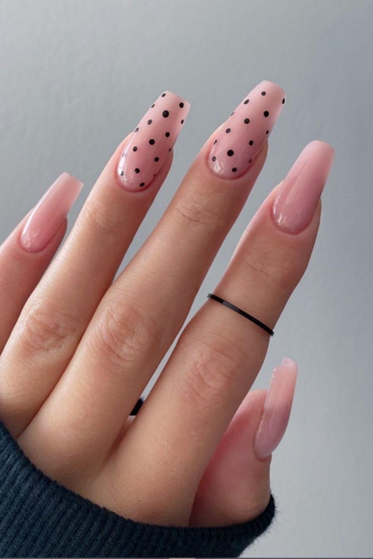 Cute little black dots coffin nail art