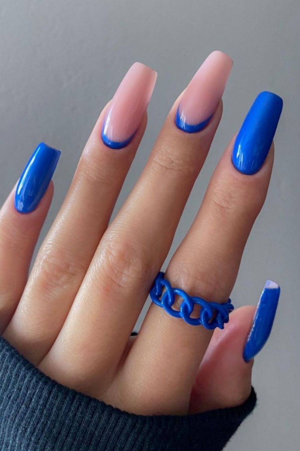 Pink and blue coffin nails