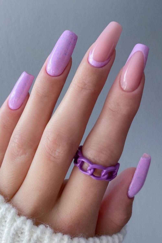 Purple coffin shape nail