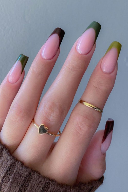 Dark green coffin shape nail