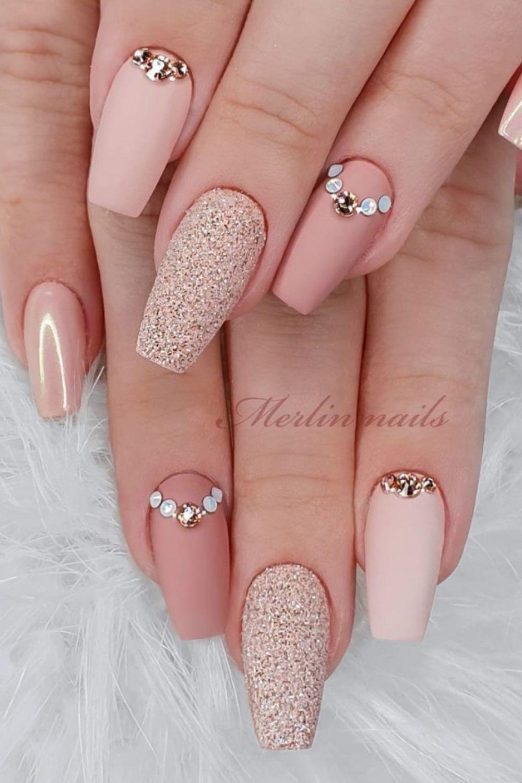 Matte pink coffin nails