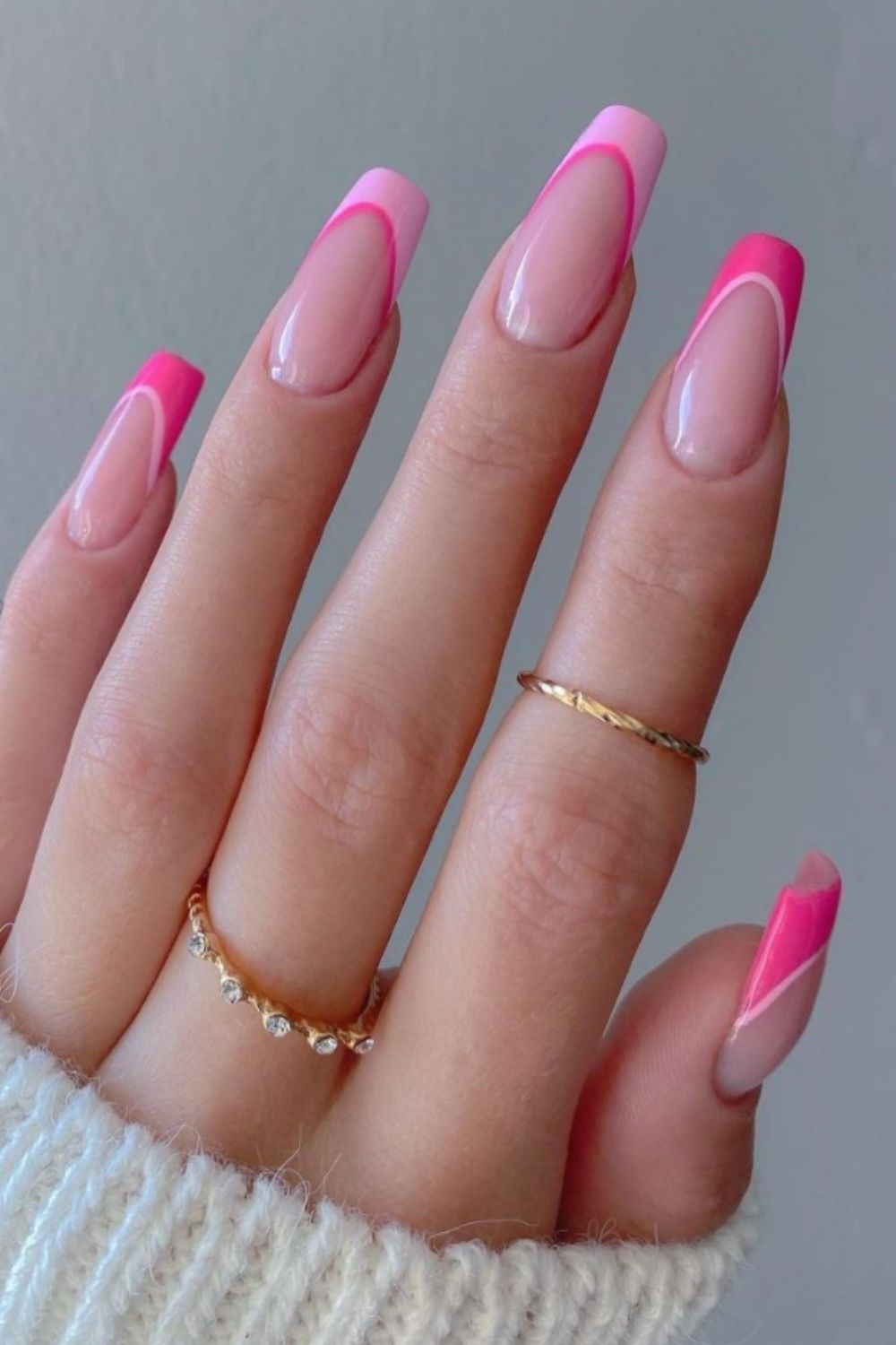 French tip coffin style nails