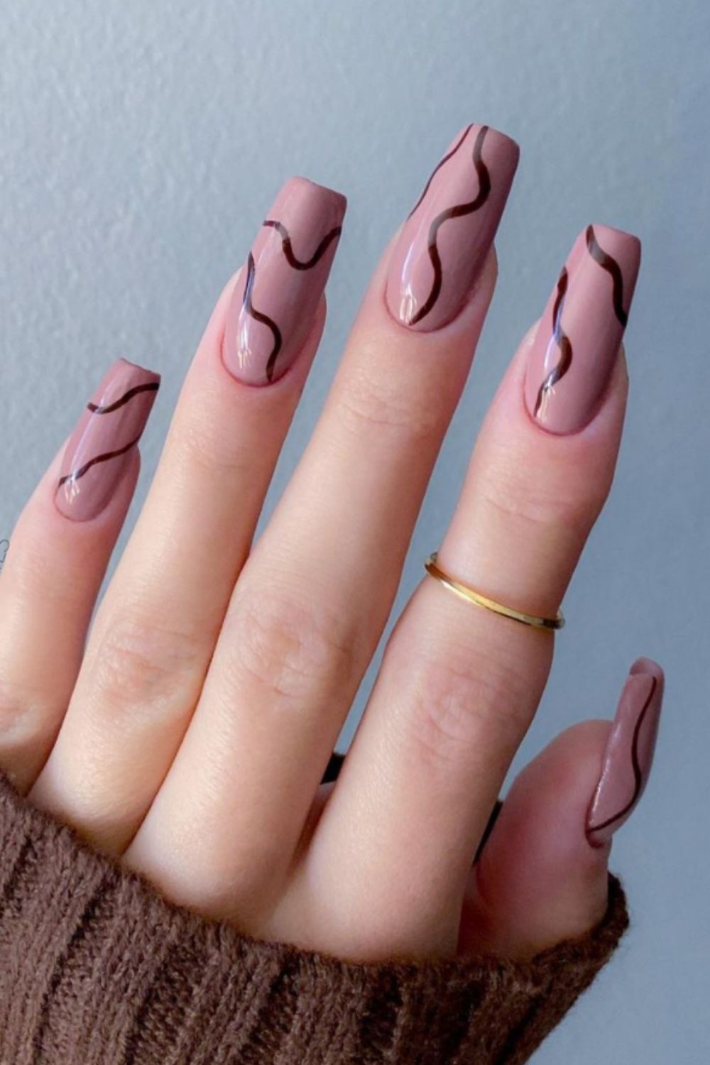 Brown and pink nails