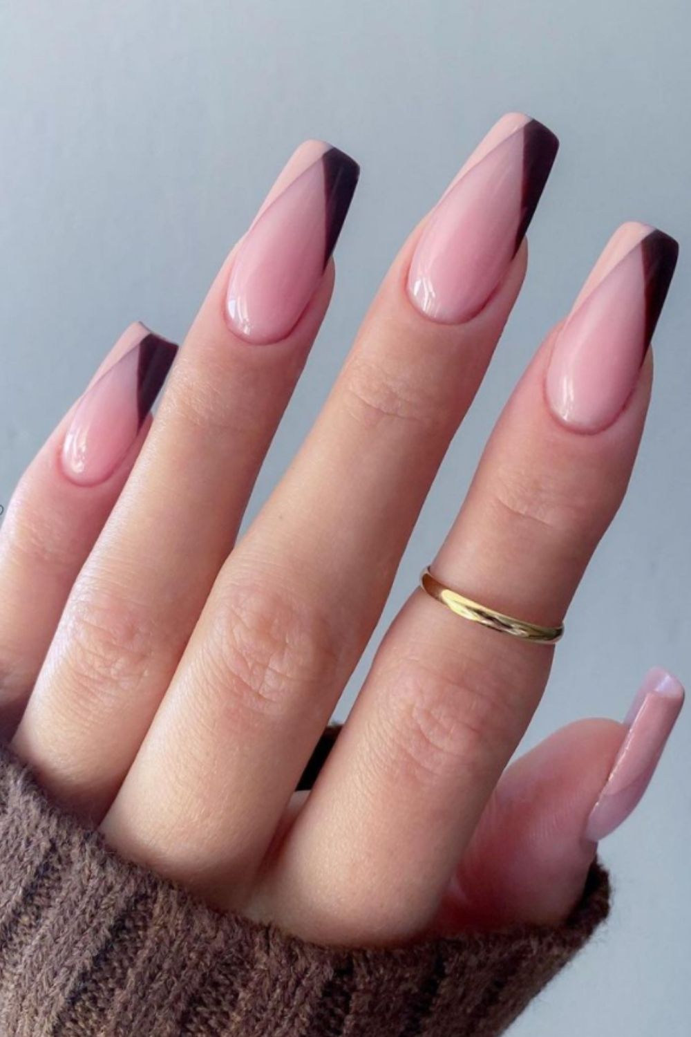Black and pink tip coffin nails