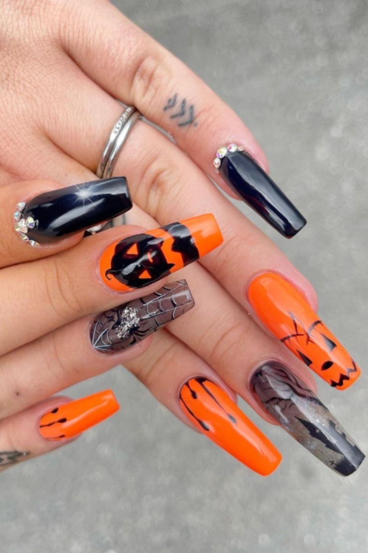 Spider Web Coffin Nail Designs