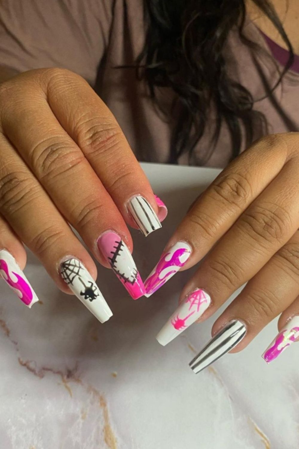 Spider Web White and Pink Spider Web Nail Designs