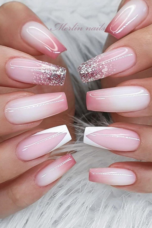 Translucent long tip pink coffin nail art