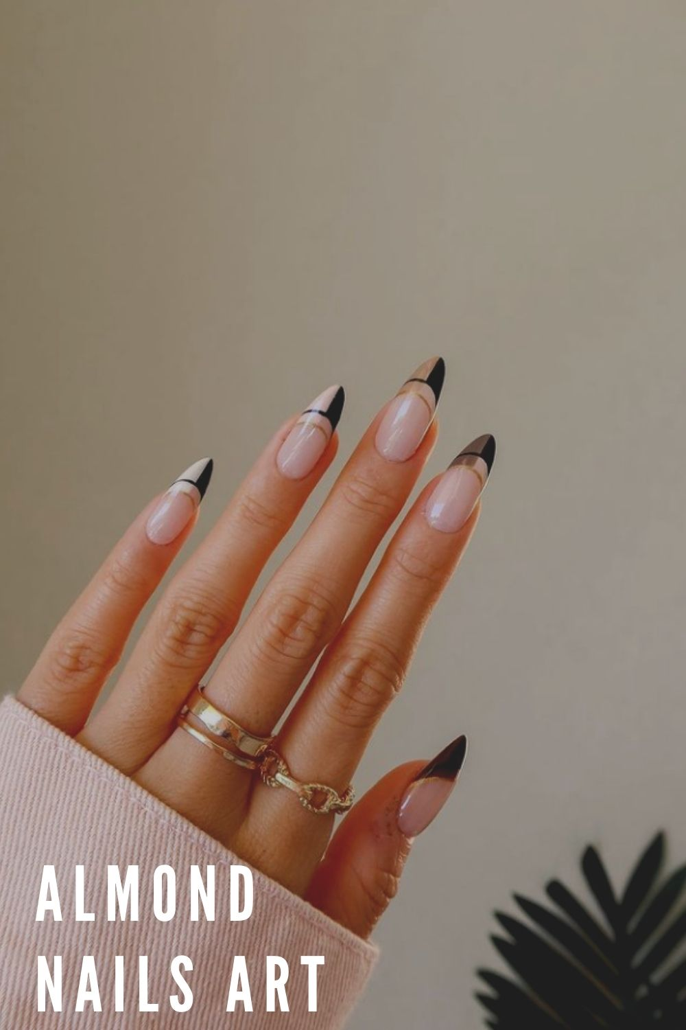 Pink and black French tip almond nails