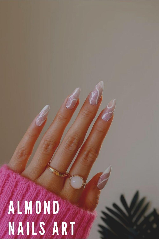 fall almond nail art