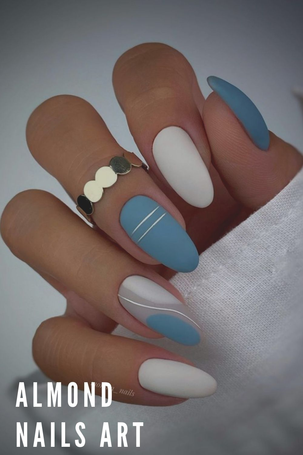 Blue and white almond nails
