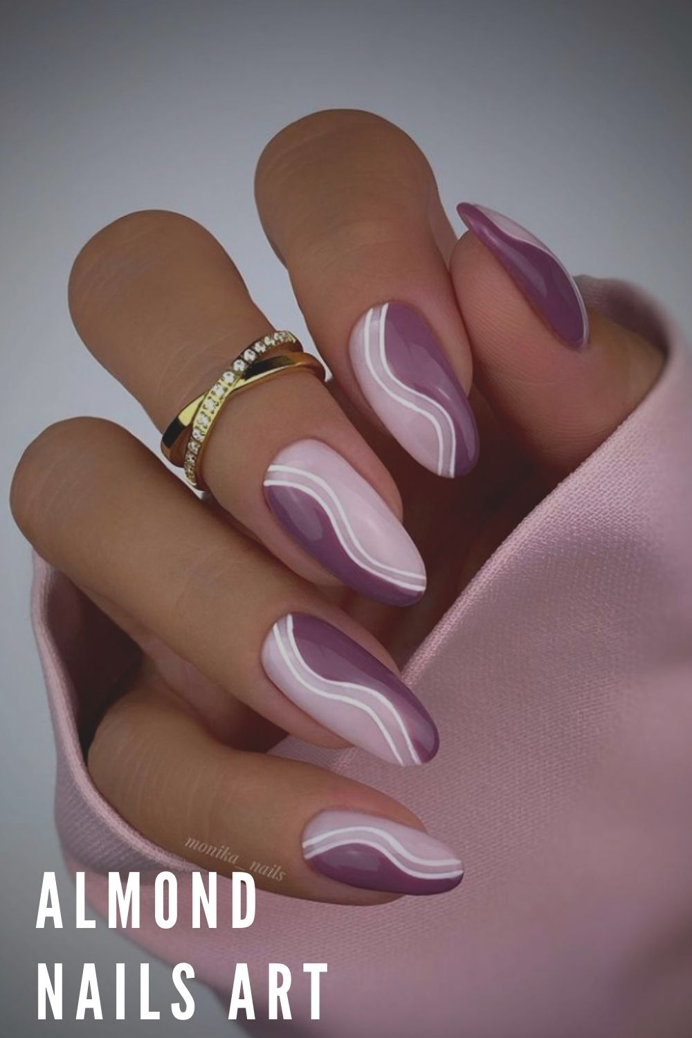Purple and white almond nails art
