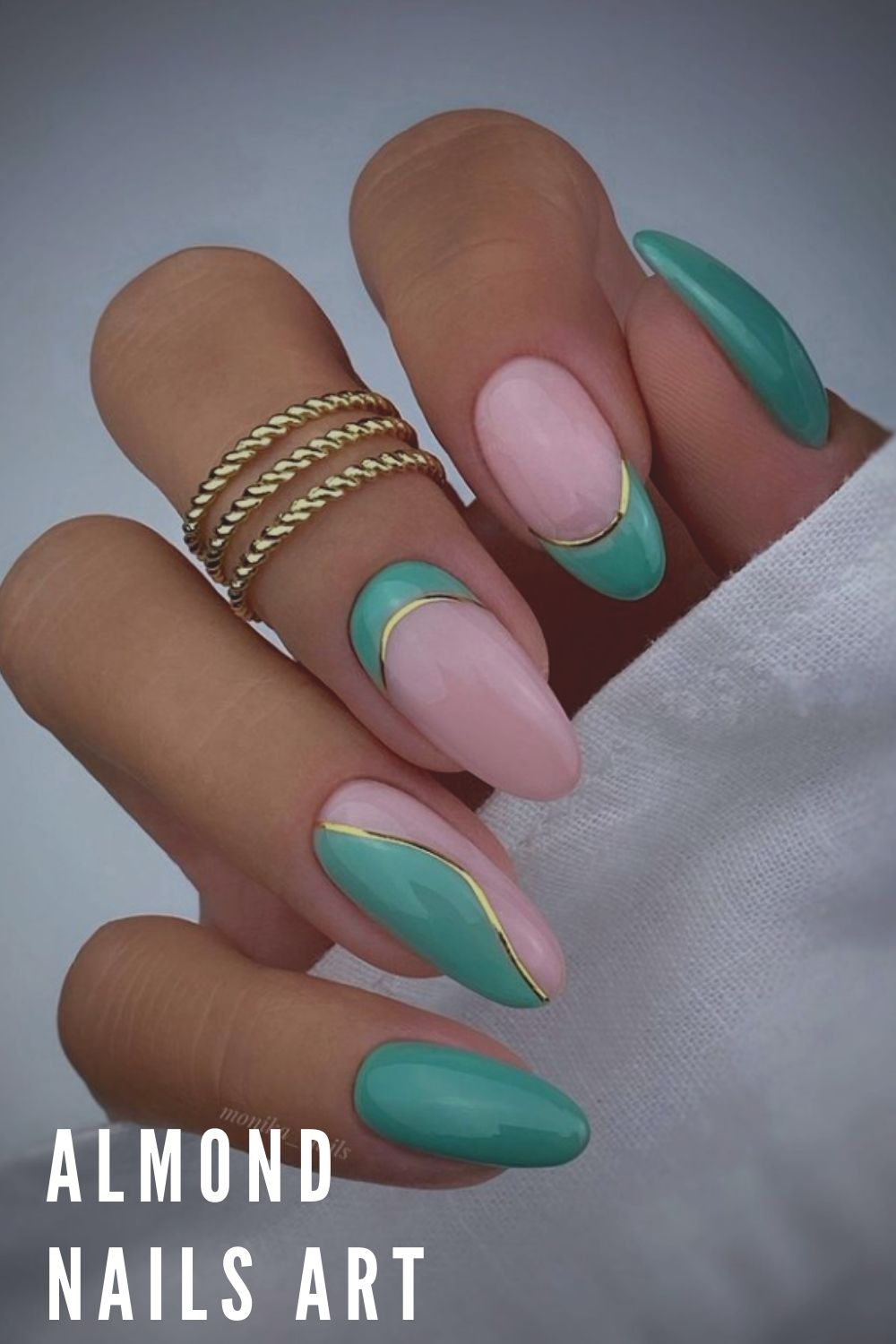 Green and pink almond nails ideas