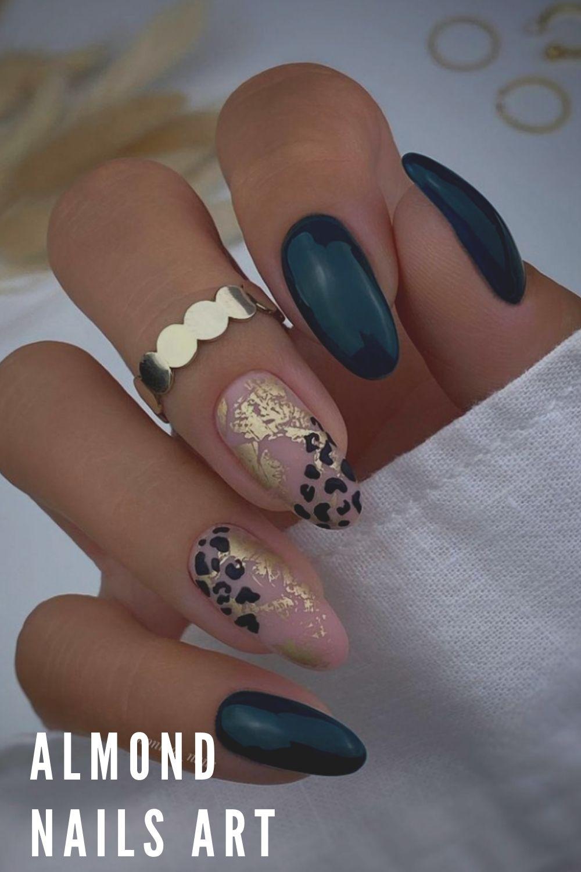 Leopard print almond nails