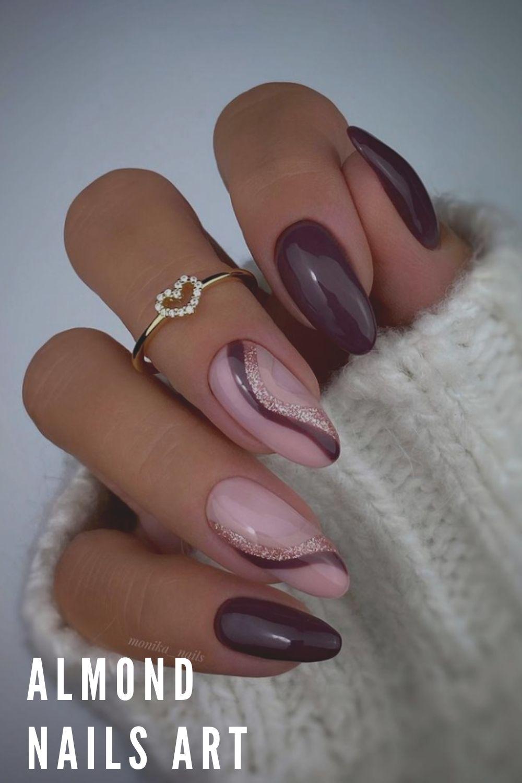 Almond Christmas Nail Design