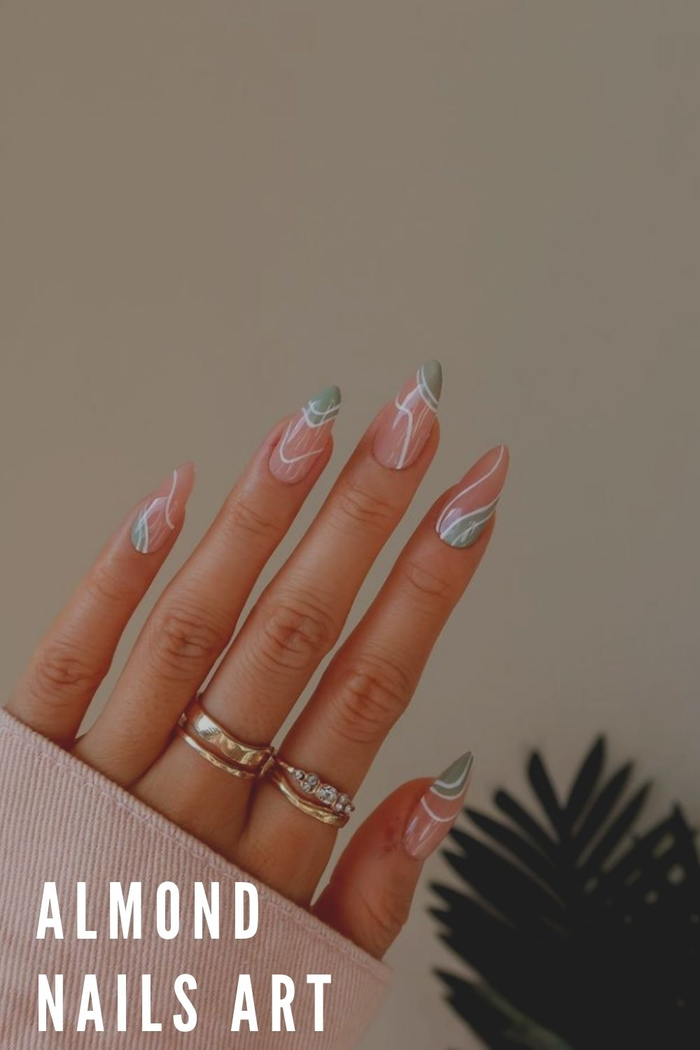 Light green and white, pink almond nail designs