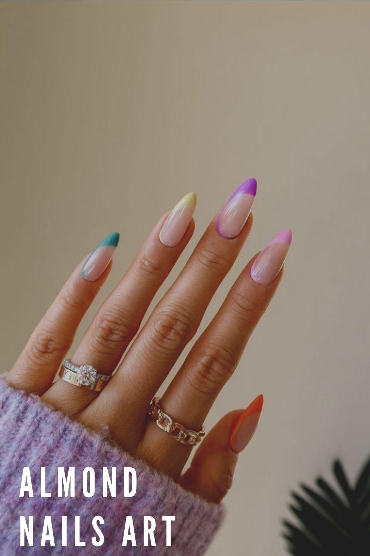 Yellow, green, purple,tip almond nail ideas